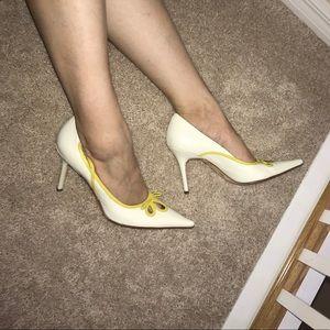 BCBGMaxAzria Classy White Heels with Yellow Detail